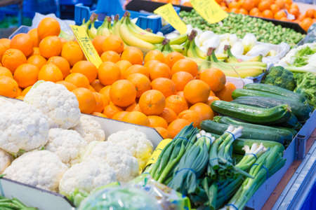 gaff: Selection of vegetables and fruit on display at a street market Editorial
