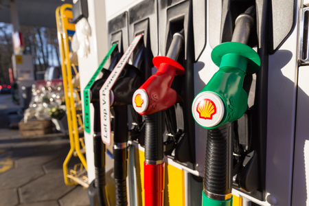 zWOLLE, THE NETHERLANDS - FEBRUARY 3, 2014: Filling nozzles at a Shell gas station. Shell have 44,000 service stations worldwide.