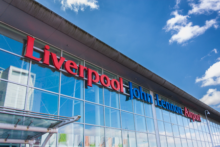 liverpool: LIVERPOOL, ENGLAND - MARCH 30, 2014: Liverpool John Lennon Airport is an international airport serving the North West of England. Formerly known as Speke Airport.
