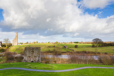 county meath: Irish landscape with famous ruins at Trim Ireland seen from above