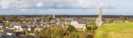 abbey: Panorama of the Town of Trim and the Yellow Steeple seen from above Editorial