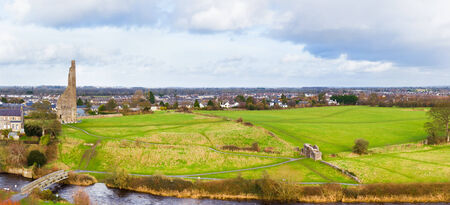 county meath: Panorama of the Town of Trim and the famous ruins Yellow Steeple and Sheeps Gate
