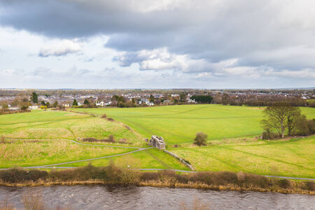 county meath: River boyne and Sheeps Gate in Trim Ireland seen from above Stock Photo