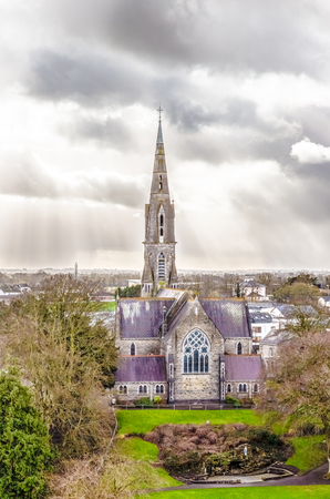 county meath: Saint Patricks Roman Catholic Church in Trim Ireland seen from above