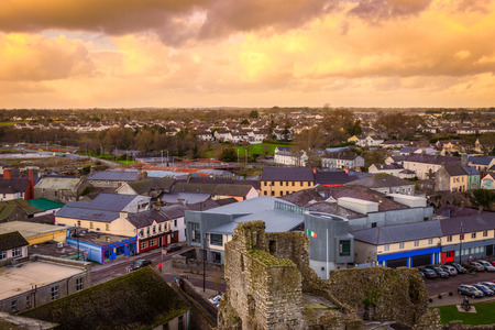 Town of Trim in County Meath Ireland seen from above at sunset