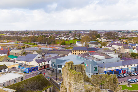 Town of Trim in County Meath Ireland seen from above