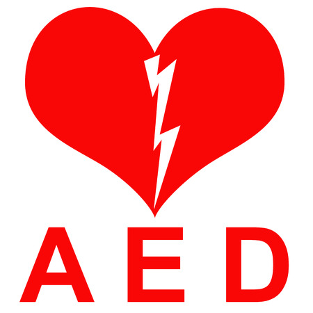 indicate: Red and white AED Sticker to indicate that there is a defibrillator located in the building or indicating the exact location