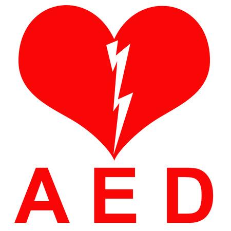 Rode en witte AED sticker om aan te geven dat er een defibrillator zich in het gebouw of de vermelding van de exacte locatie Stockfoto