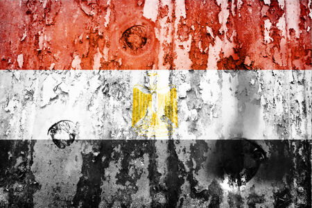 attacked: Egypt flag on a weathered grunge