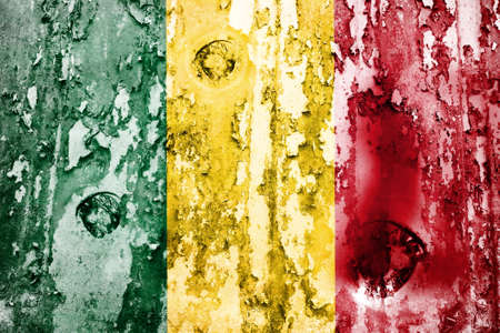 defaced: Mali flag on a weathered grunge