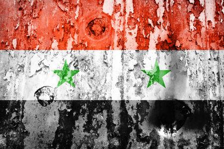 Syria flag on a weathered grunge  photo