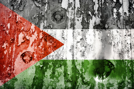 defaced: Palestine flag on a weathered grunge background Stock Photo