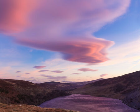 lough: Colourful clouds over Lough Tay in Wicklow