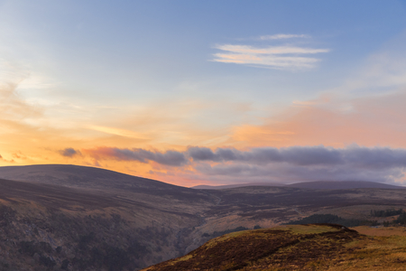 Sally Gap in Wicklow Mountains at twilight photo