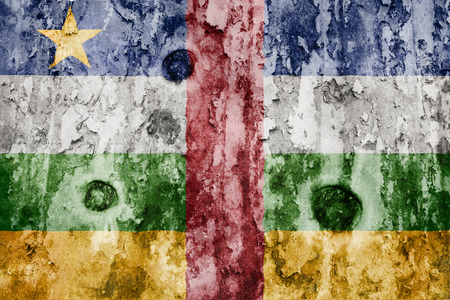 defaced: Central African Republic flag on a weathered grunge background