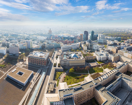 aerial view city: Aerial view of the Berlin business district and city center Stock Photo
