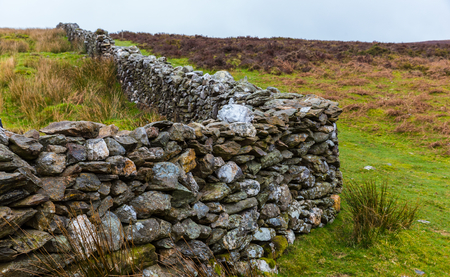 heathland: Manmade stone wall in Wicklow Mountains