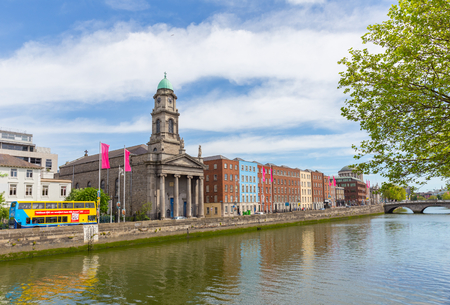 DUBLIN - MAY 17, 2014: Dublin Ireland is a popular tourist destination. St Pauls church on Arran Quay.