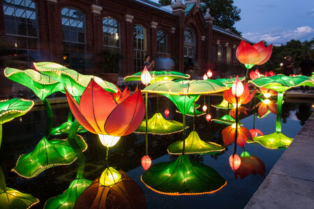 ST. LOUIS – JULY 1: The Lantern Festival is on exhibition at the Missouri Botanical Garden on July 1, 2012 in St. Louis. The garden displays 26 Chinese lantern structures, running till August 19, 2012