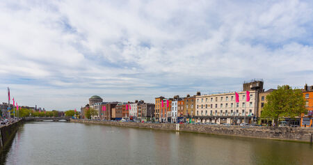 DUBLIN - MAY 17, 2014: Ormond Quay Upper seen from Gratton Bridge in Dublin. Dublin is a popular tourst destination.