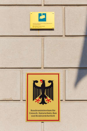 abbreviated: BERLIN - MARCH 30, 2014  Signage of The Federal Ministry for the Environment, Nature Conservation, Building and Nuclear Safety  In German known as Bundesministerium f�r Umwelt, Naturschutz, Bau und Reaktorsicherheit   abbreviated BMUB