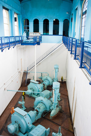 BELFAST - AUGUST 19, 2012  Water pumps in the Titanic Pump House