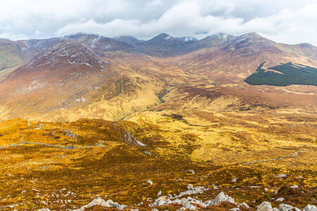 bogs: Mountains in Connemara National Park in Connacht Stock Photo