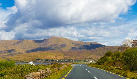 the turks: Road passing Maamturks and Killary Harbour in Connacht