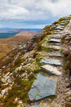 bogs: Stone steps on Diamond Hill in Connemara