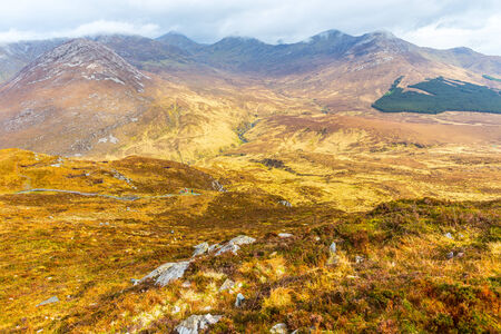 bogs: View of Connemara National Park Mountains