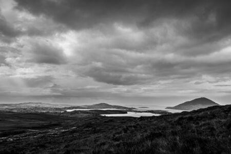 connemara: View of North Atlantic in Connemara in monochrome