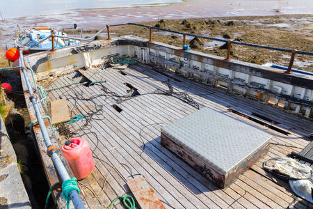 weather beaten: Weathered deck of a fishing boat