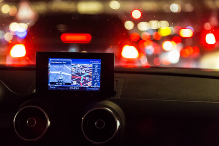GPS  device in a car at night photo
