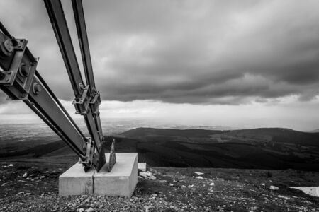 leinster: Guy for the RTE Antenna on Mount Leinster Stock Photo