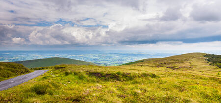 leinster: Hillside of Mt Leinster and road in Carlow
