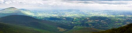blackrock: Panorama of Blackstairs Mountains and Carlow Stock Photo