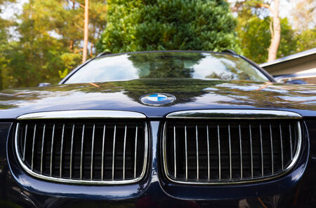 characteristic: NETHERLANDS - SEPTEMBER 22, 2014: Parked BMW with recognisable logo and characteristic kidney grille. Editorial