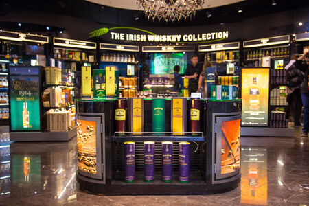 DUBLIN - 19 JULY, 2014: The Irish Whiskey Collection is on display at Dublin Airport on 19 July 2014 in Dublin. In Ireland whiskey is spelled with the letter H.