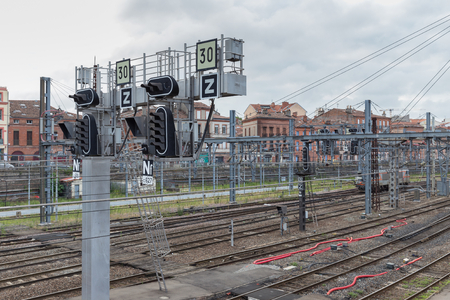 maintains: TOULOUSE, FRANCE - JULY 21, 2014: TOULOUSE, FRANCE - JULY 21, 2014: R�seau ferr� de France (RFF), owns and maintains the French national railway network. SNCF operates the countrys national rail services.