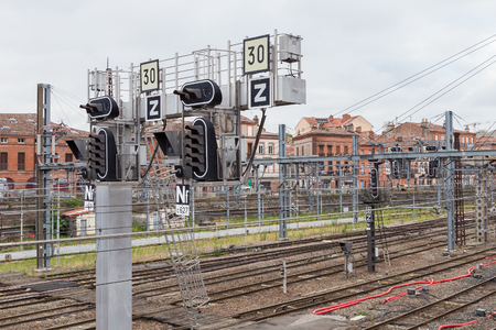 lozenge: TOULOUSE, FRANCE - JULY 21, 2014:  the French national railway network. The lozenge indicates that the signal is equipped with an in-cab repeater.