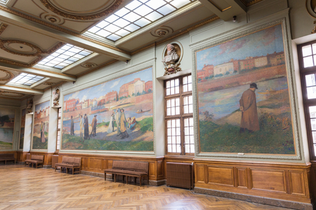 grandeur: TOULOUSE - JULY 21, 2014: Salle Henri Martin in the Capitole de Toulose is decorated with ten giant canvases by Henri Martin. Henri-Jean Guillaume Martin was a renowned French impressionist painter.