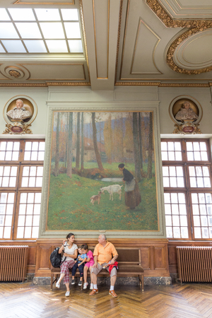 TOULOUSE - JULY 21, 2014: Salle Henri Martin in the Capitole de Toulose is decorated with ten giant canvases by Henri Martin. Henri-Jean Guillaume Martin was a renowned French impressionist painter.
