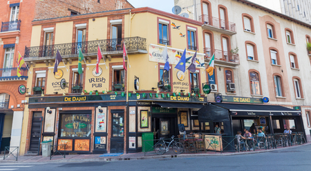 TOULOUSE, FRANCE - JULY 22, 2014: De Danu is Toulouse's largest Irish bar, situated only a short distance from the centre of Toulouse. The pub is open since October 2004. Editorial