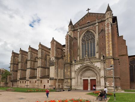 TOULOUSE - JULY 21, 2014: Toulouse Cathedral is a Roman Catholic cathedral, and a national monument of France.  The exact date of the church is unknown, the first mention is found in a charter of 844.