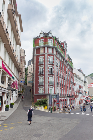 kilometre: LOURDES, FRANCE - JULY 23, 2014: With about 270 hotels, Lourdes has the second greatest number of hotels per square kilometre in France after Paris.