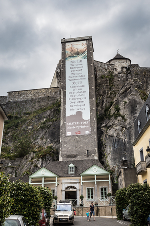 fastness: LOURDES, FRANCE - JULY 23, 2014: Chateau Fort and Musee Pyreneen in Lourdes, France. The Pyrenean Museum saw the light of day in 1921.