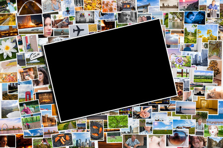 photo montage: Postcard or photo template with a background of photos and postcards with several destinations from all over the world Stock Photo