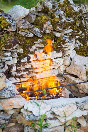 fire brick: Self built brick barbeque with a nice fire gong