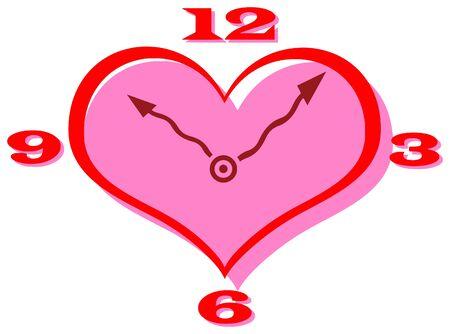 clip art: Vector clip art di un orologio a forma di cuore con le mani ricci