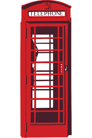 telephone booth: Vector of a red telephone booth Illustration